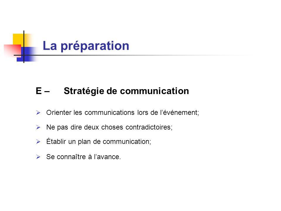 La préparation E – Stratégie de communication