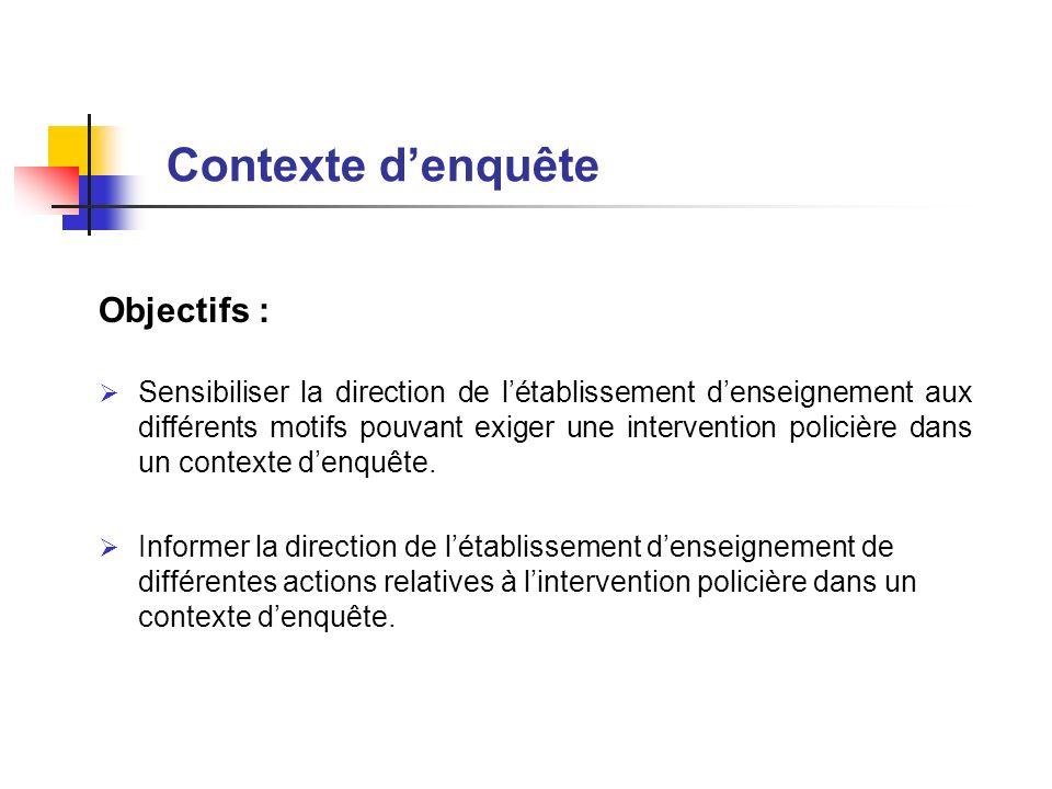 Contexte d'enquête Objectifs :