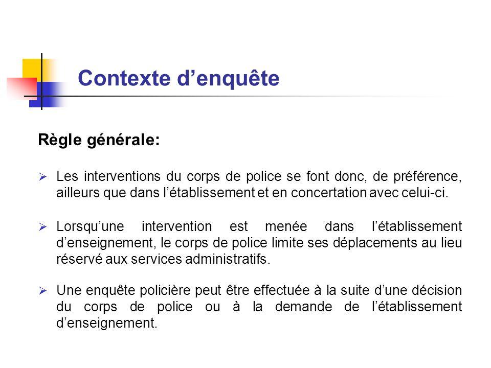 Contexte d'enquête Règle générale: