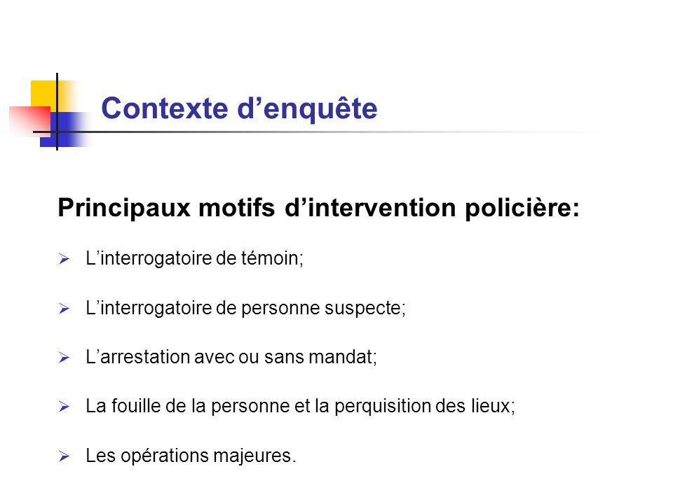 Contexte d'enquête Principaux motifs d'intervention policière: