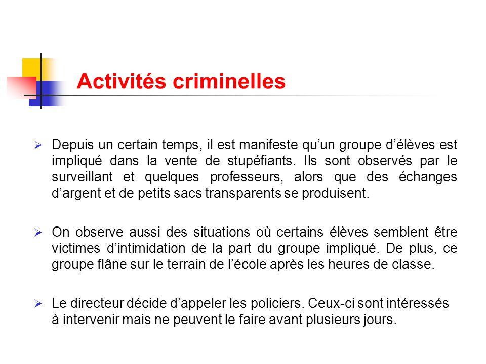 Activités criminelles