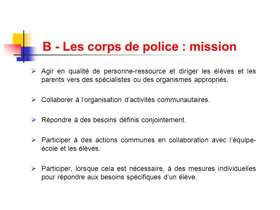 B - Les corps de police : mission