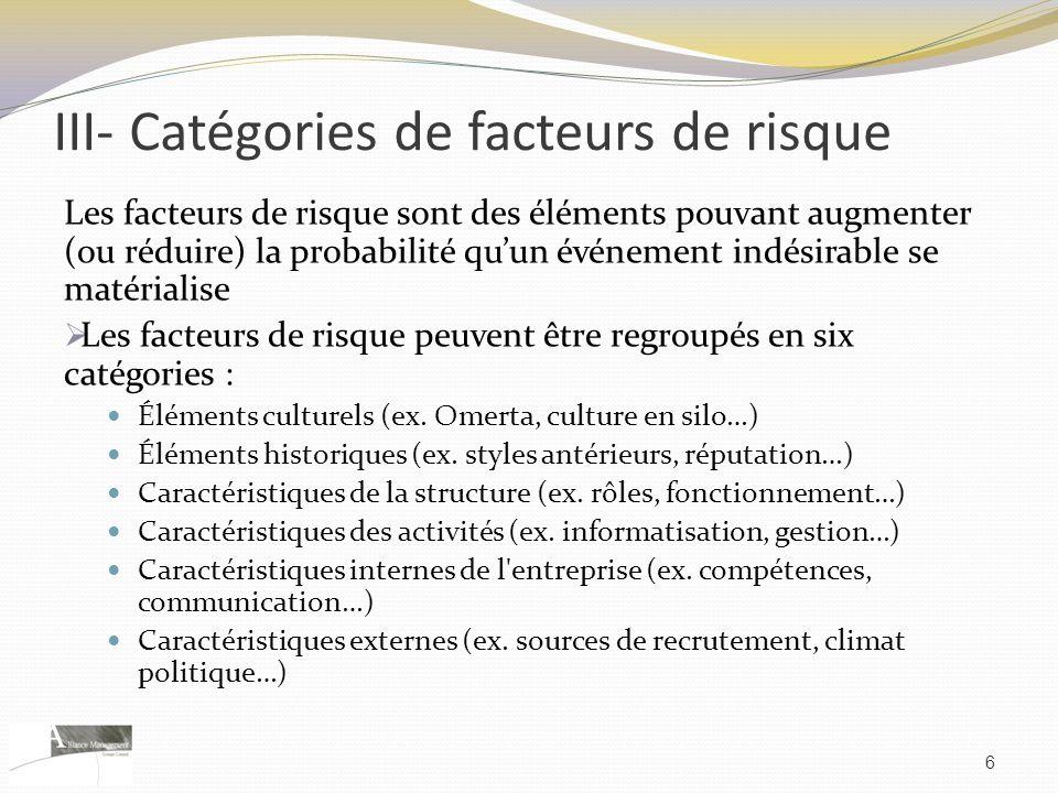 III- Catégories de facteurs de risque