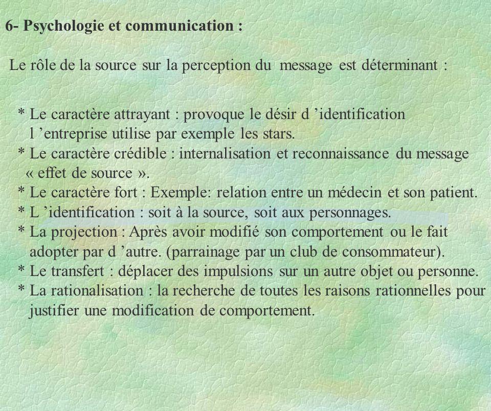 6- Psychologie et communication : Le rôle de la source sur la perception du message est déterminant :