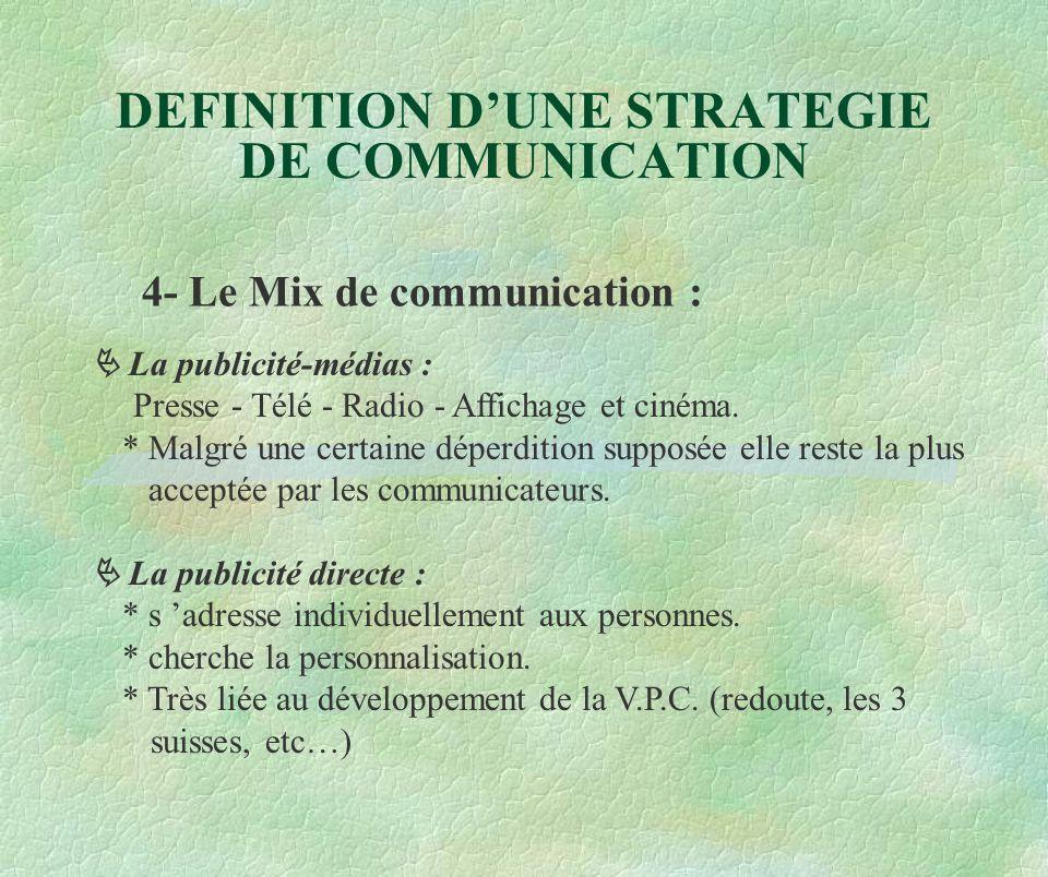 DEFINITION D'UNE STRATEGIE DE COMMUNICATION