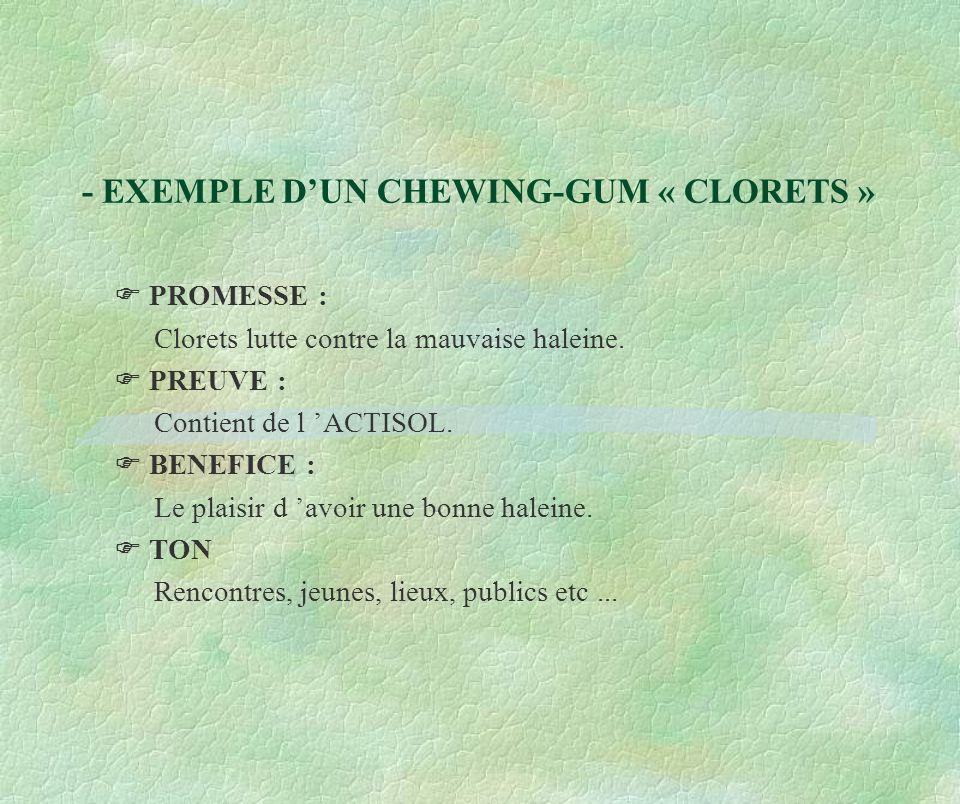 - EXEMPLE D'UN CHEWING-GUM « CLORETS »