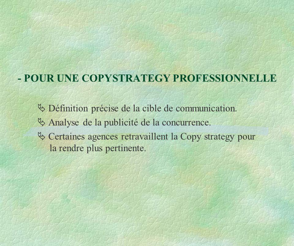 - POUR UNE COPYSTRATEGY PROFESSIONNELLE