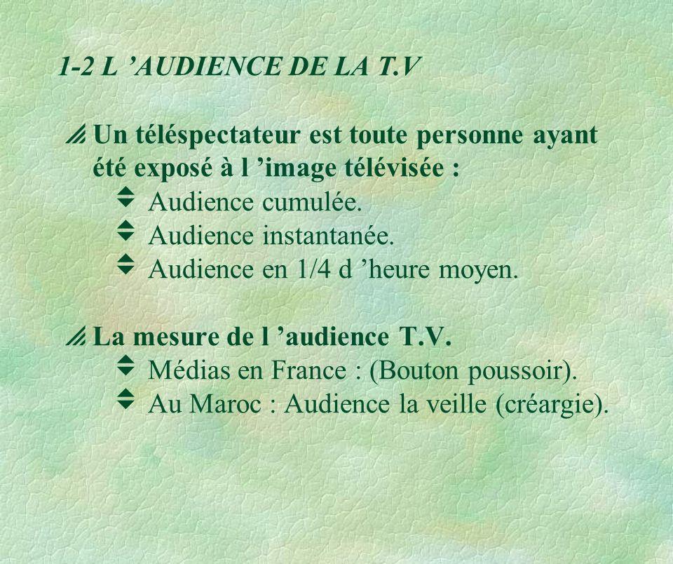 1-2 L 'AUDIENCE DE LA T.V  Un téléspectateur est toute personne ayant été exposé à l 'image télévisée :  Audience cumulée.