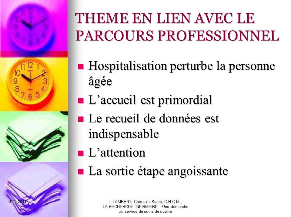 THEME EN LIEN AVEC LE PARCOURS PROFESSIONNEL