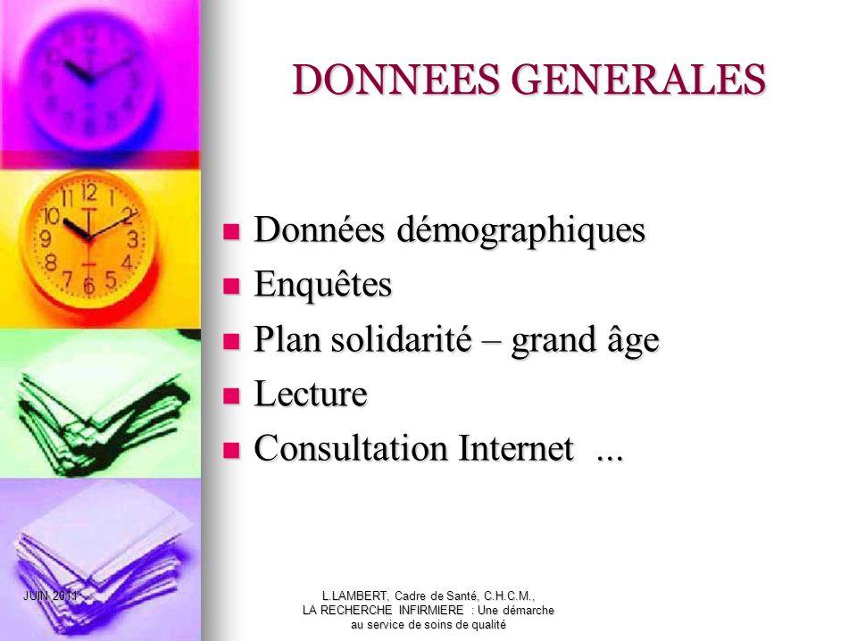 DONNEES GENERALES Données démographiques Enquêtes