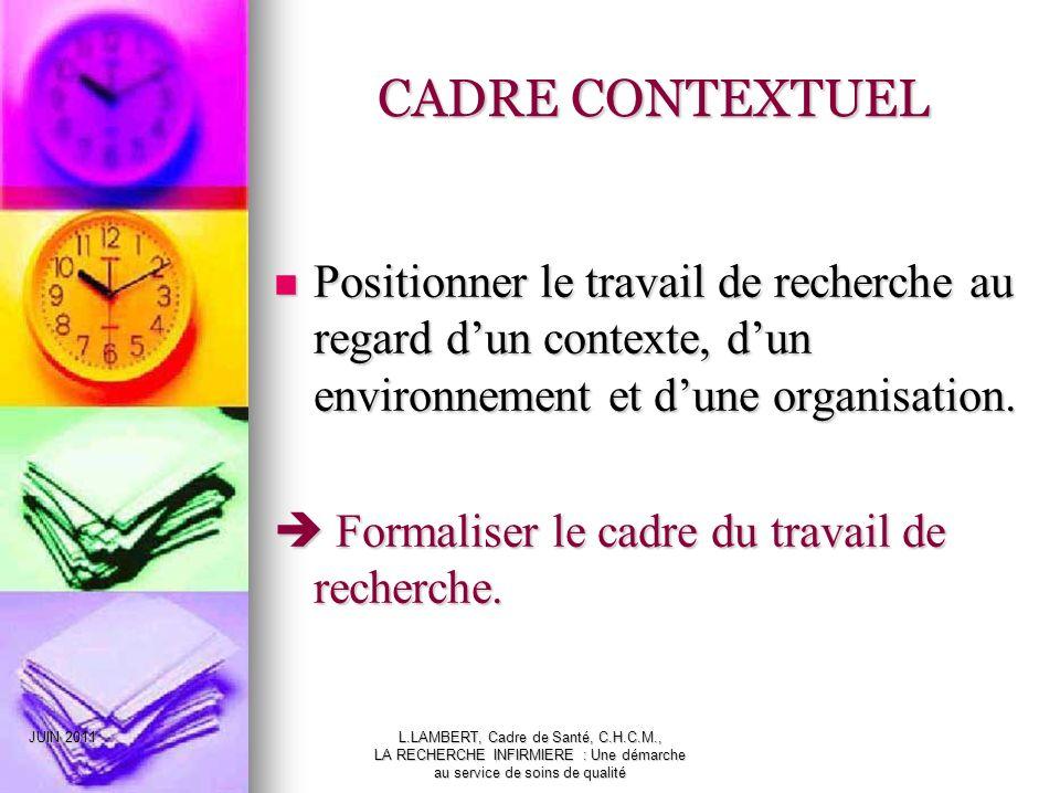 CADRE CONTEXTUEL Positionner le travail de recherche au regard d'un contexte, d'un environnement et d'une organisation.