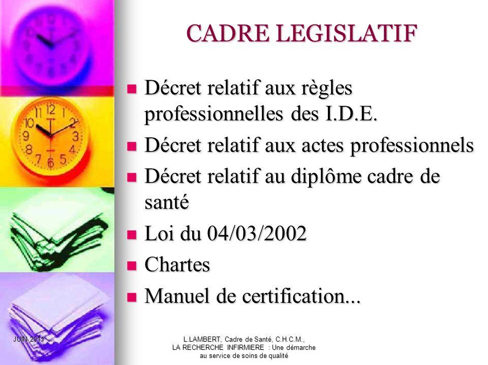 CADRE LEGISLATIF Décret relatif aux règles professionnelles des I.D.E.