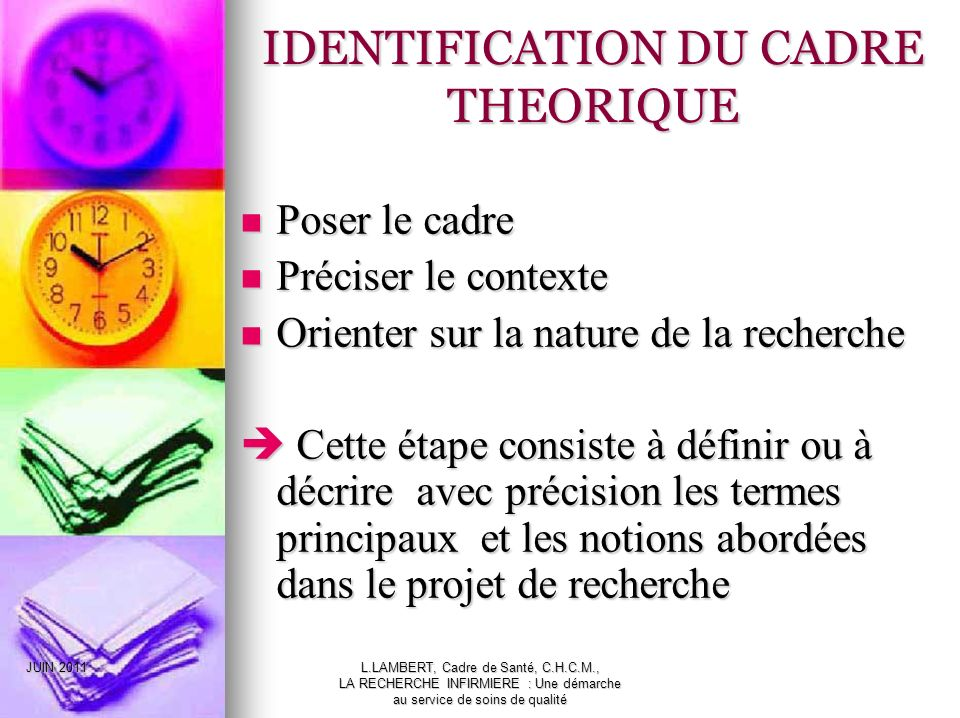IDENTIFICATION DU CADRE THEORIQUE