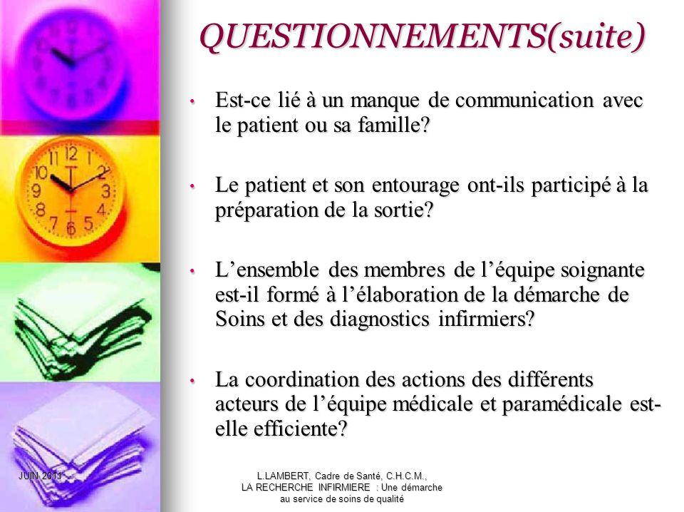 QUESTIONNEMENTS(suite)