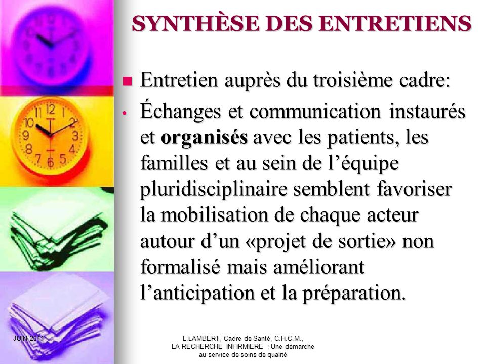 SYNTHÈSE DES ENTRETIENS
