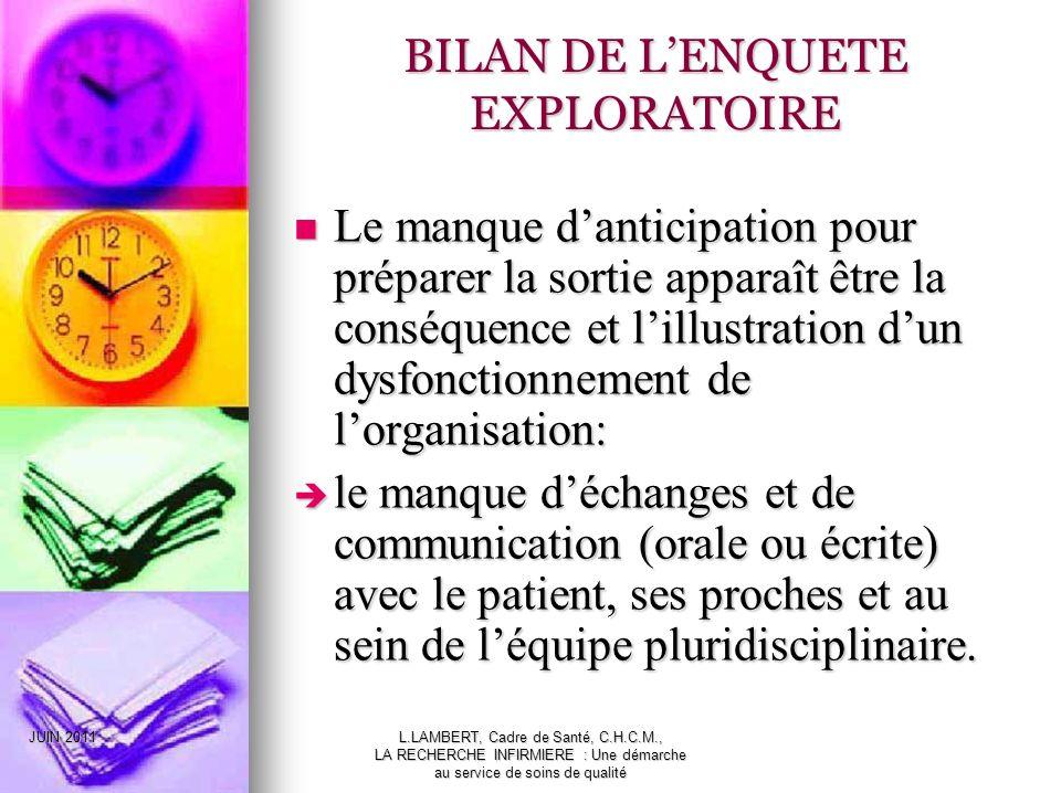BILAN DE L'ENQUETE EXPLORATOIRE
