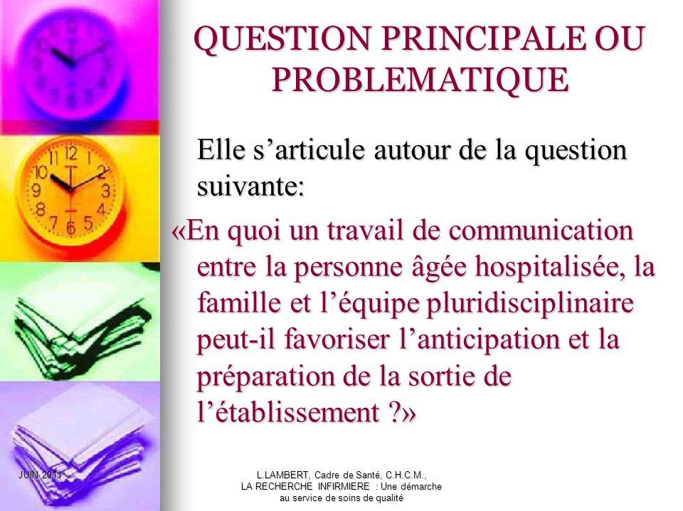 QUESTION PRINCIPALE OU PROBLEMATIQUE
