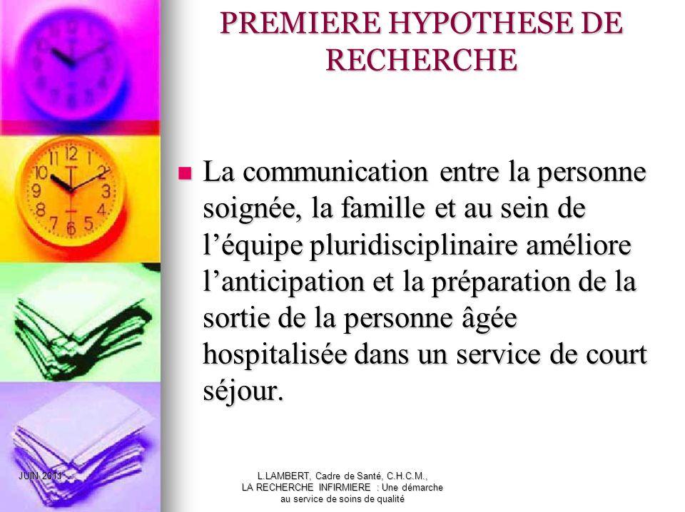 PREMIERE HYPOTHESE DE RECHERCHE