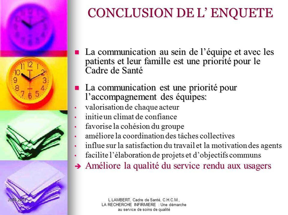 CONCLUSION DE L' ENQUETE