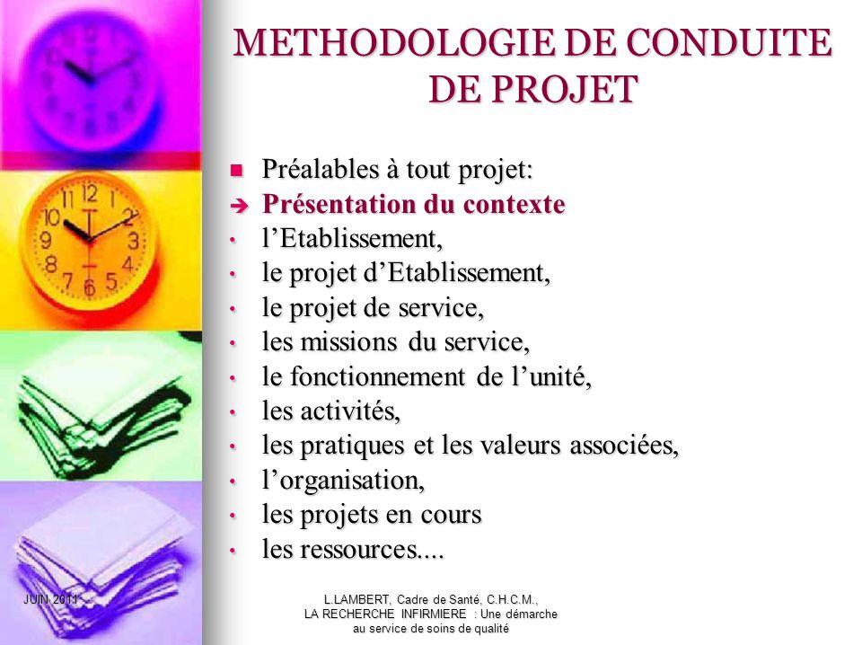 METHODOLOGIE DE CONDUITE DE PROJET