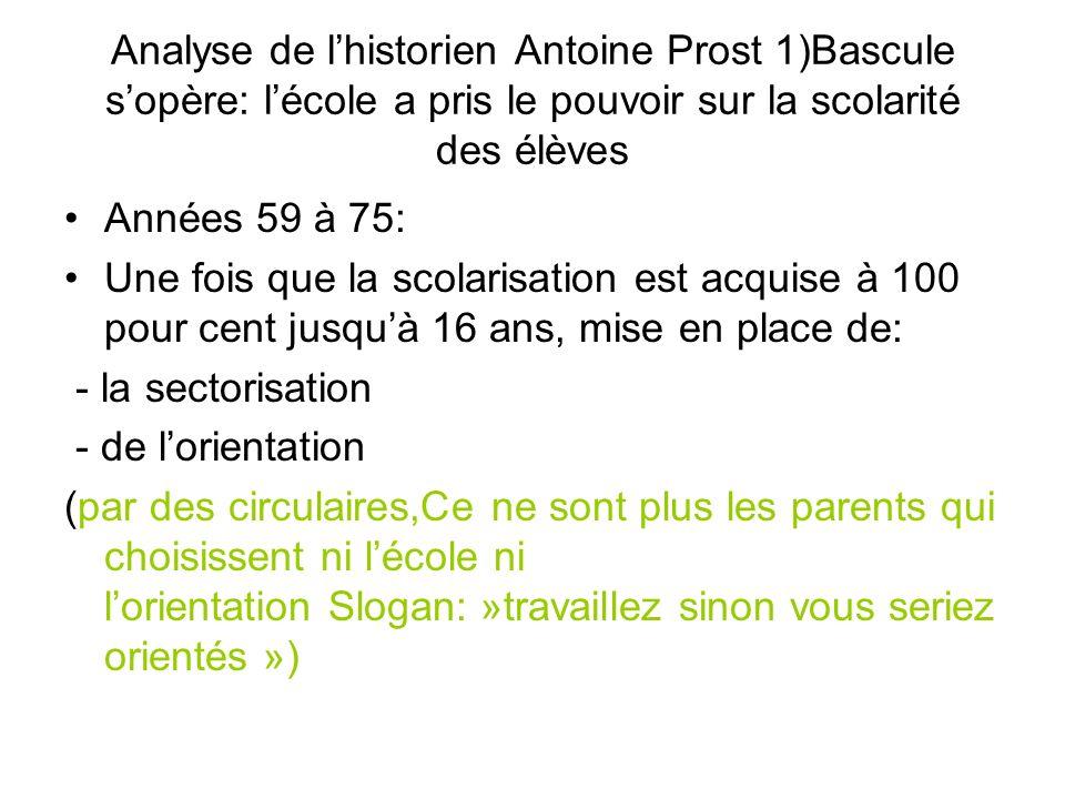 Analyse de l'historien Antoine Prost 1)Bascule s'opère: l'école a pris le pouvoir sur la scolarité des élèves