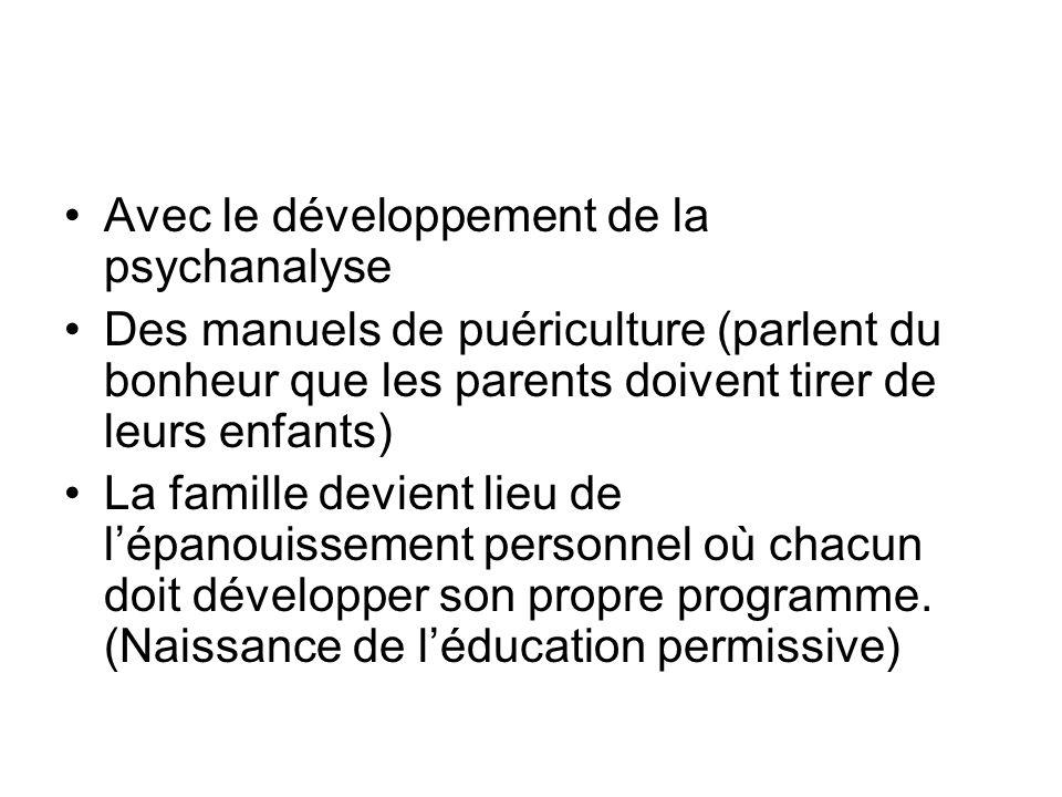 Avec le développement de la psychanalyse