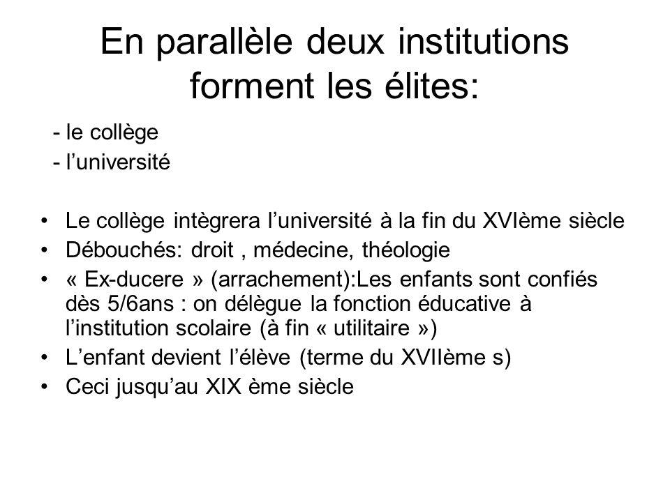 En parallèle deux institutions forment les élites: