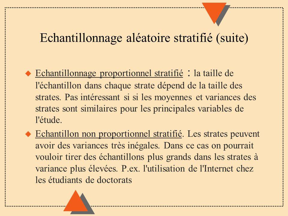 Echantillonnage aléatoire stratifié (suite)