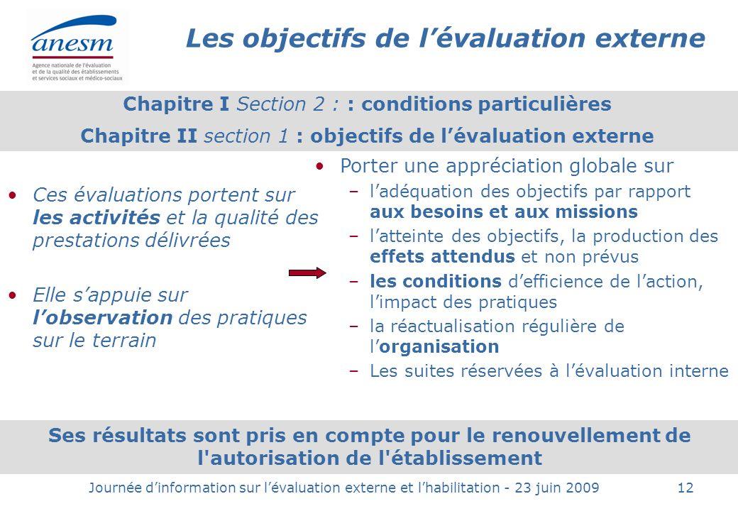 Les objectifs de l'évaluation externe