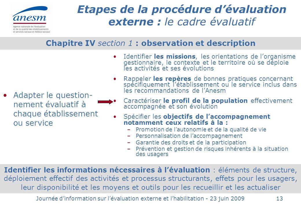 Etapes de la procédure d'évaluation externe : le cadre évaluatif