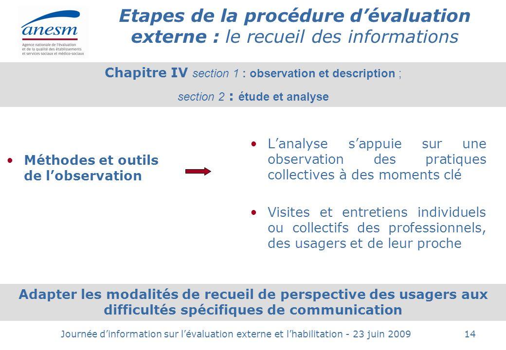 Etapes de la procédure d'évaluation externe : le recueil des informations