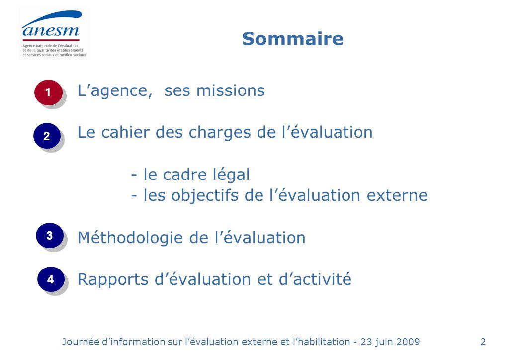 Sommaire L'agence, ses missions Le cahier des charges de l'évaluation