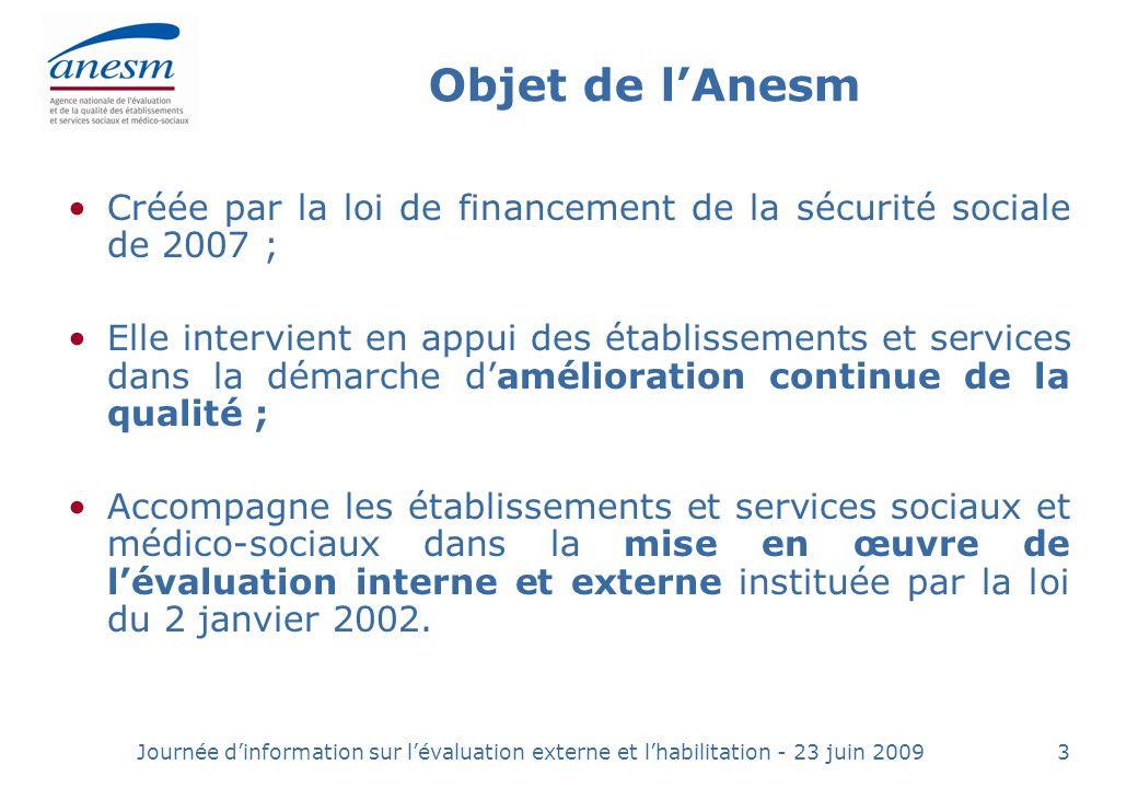 Objet de l'Anesm Créée par la loi de financement de la sécurité sociale de 2007 ;