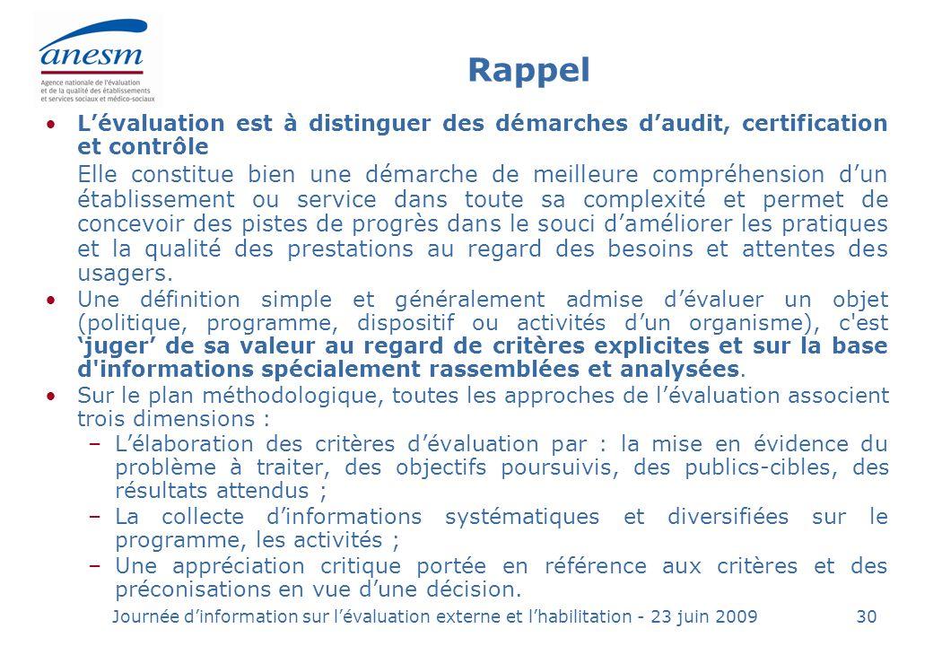 Rappel L'évaluation est à distinguer des démarches d'audit, certification et contrôle.