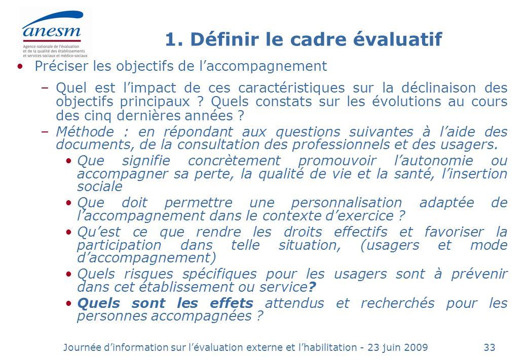1. Définir le cadre évaluatif