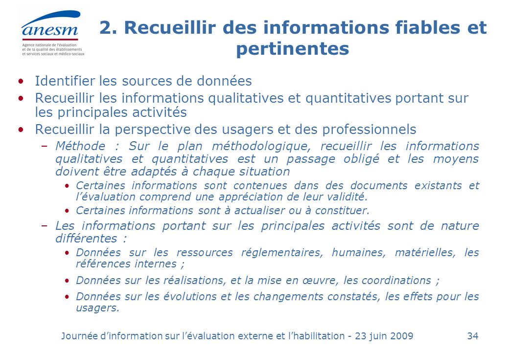 2. Recueillir des informations fiables et pertinentes