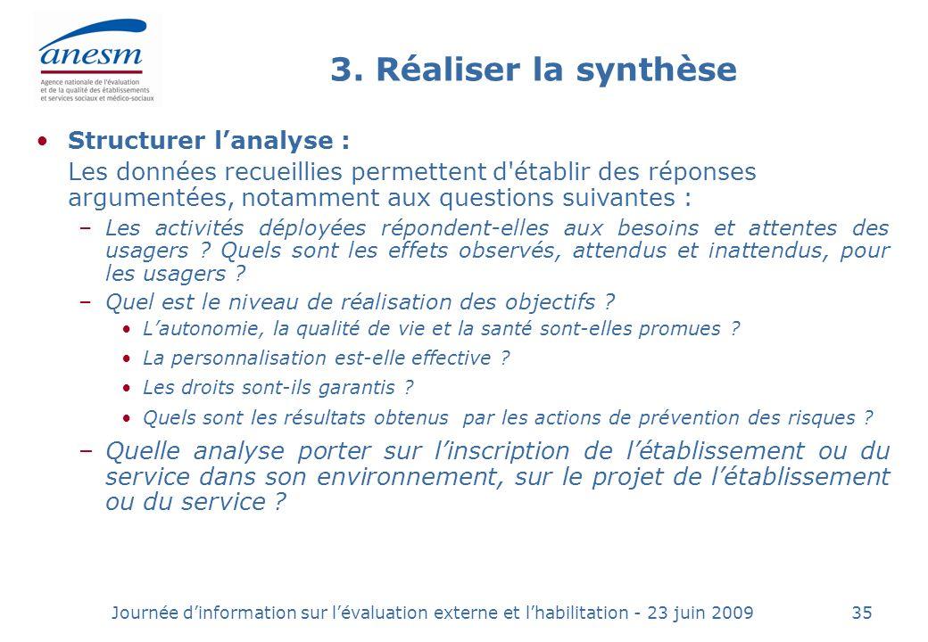 3. Réaliser la synthèse Structurer l'analyse :