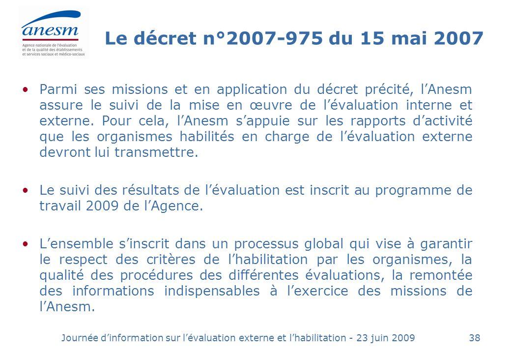 Le décret n°2007-975 du 15 mai 2007