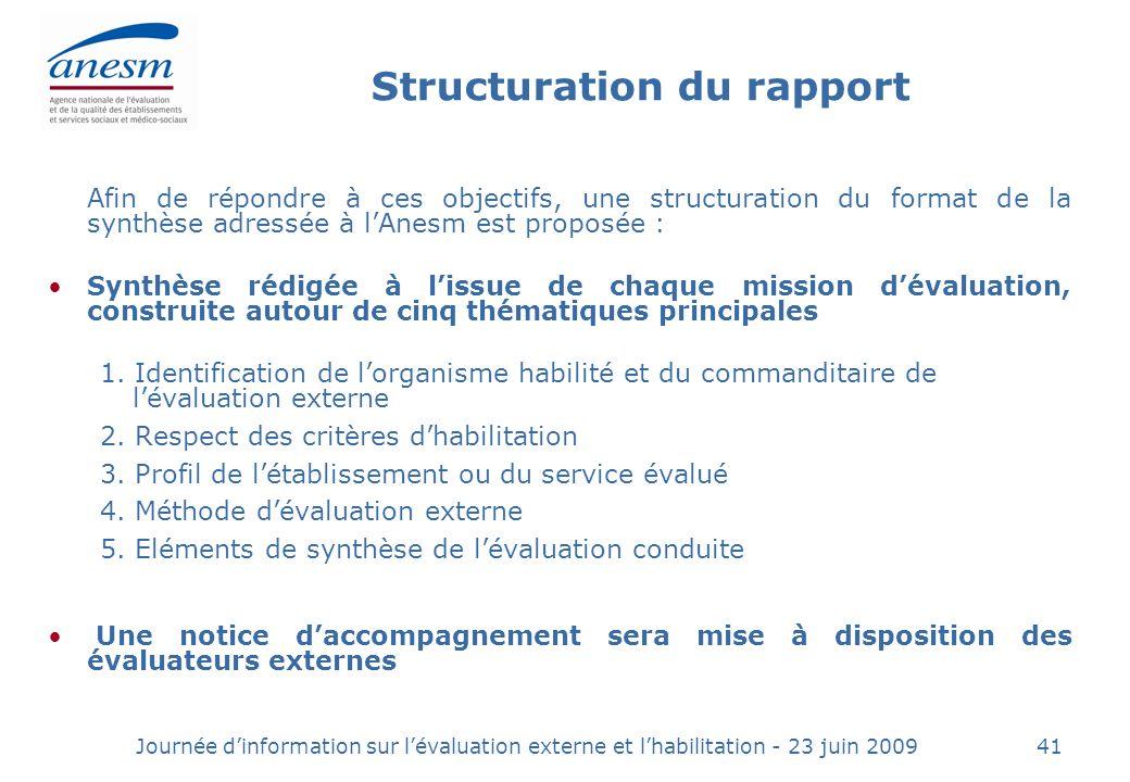 Structuration du rapport