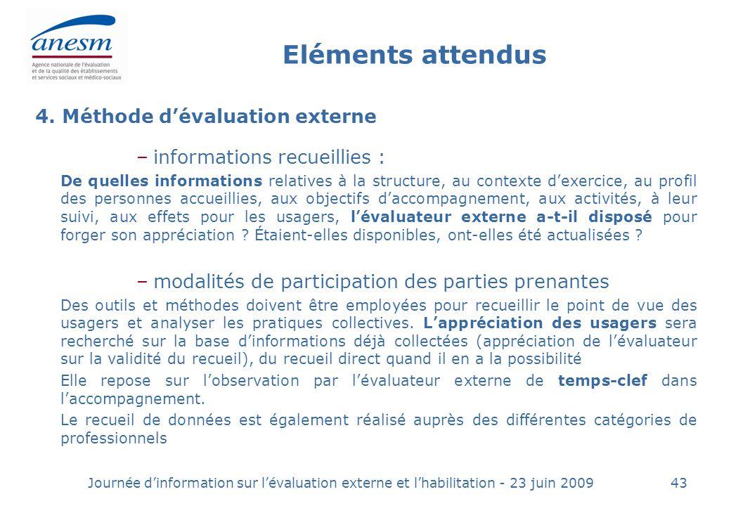 Eléments attendus 4. Méthode d'évaluation externe
