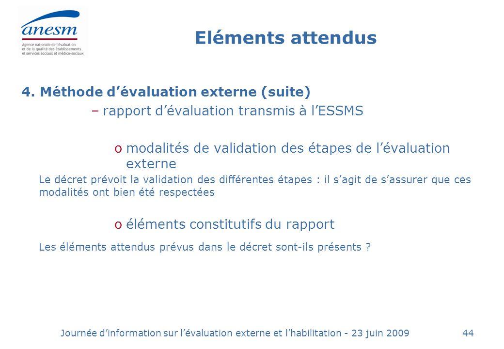 Eléments attendus 4. Méthode d'évaluation externe (suite) rapport d'évaluation transmis à l'ESSMS.
