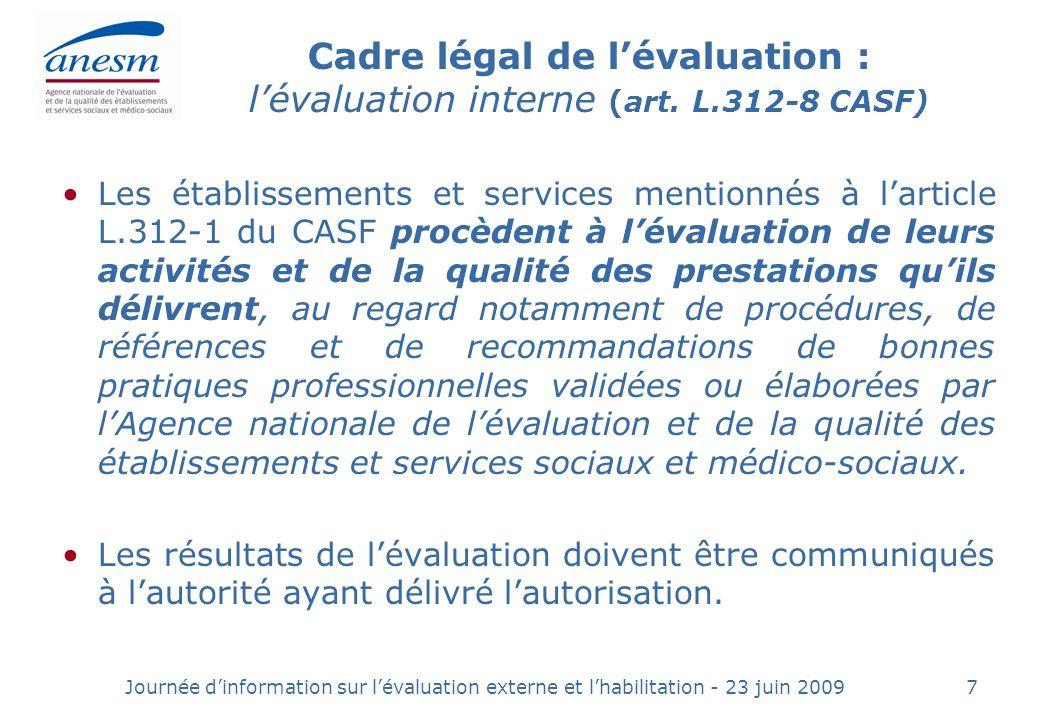 Cadre légal de l'évaluation : l'évaluation interne (art. L.312-8 CASF)