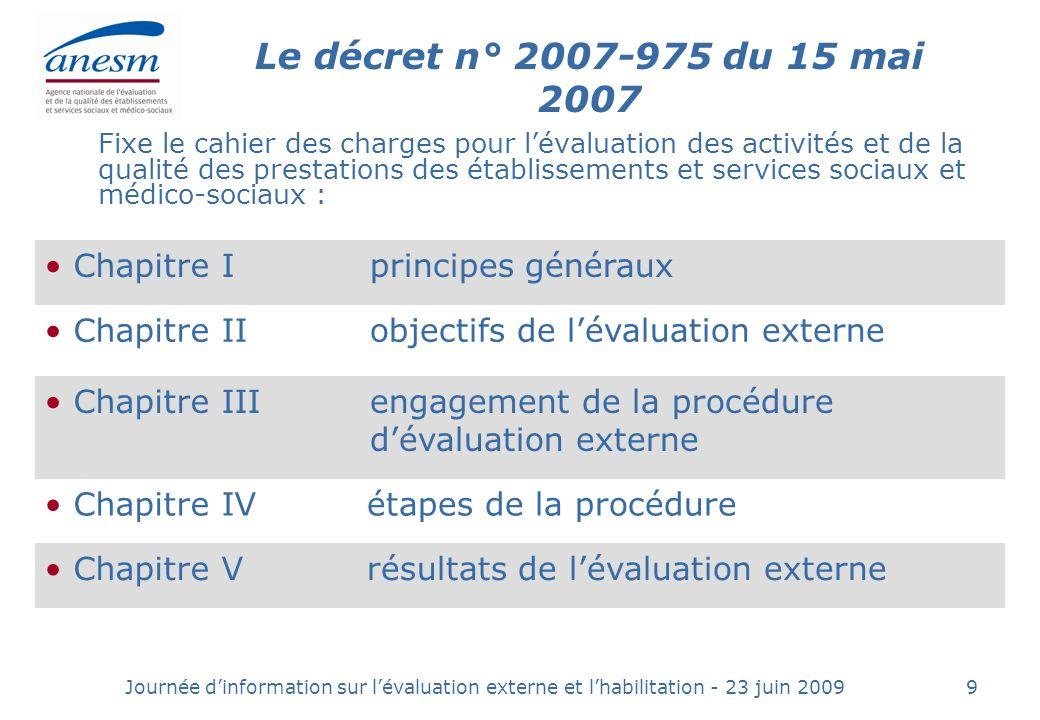 Le décret n° 2007-975 du 15 mai 2007 Chapitre I principes généraux