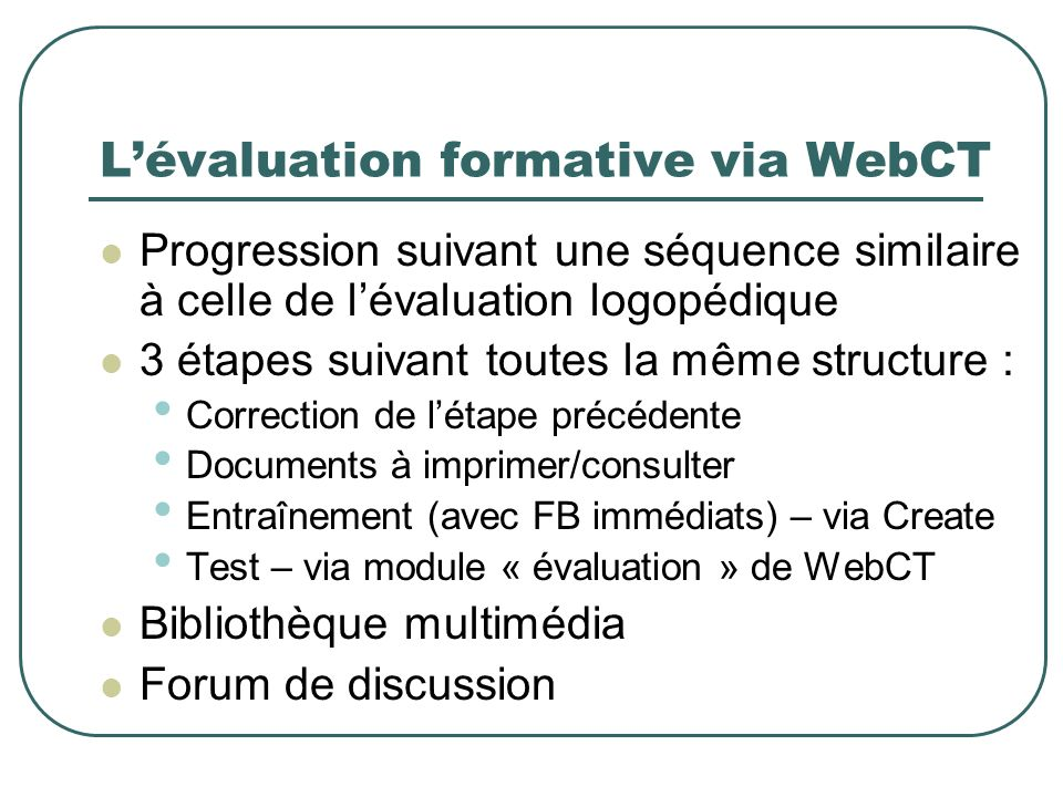 L'évaluation formative via WebCT