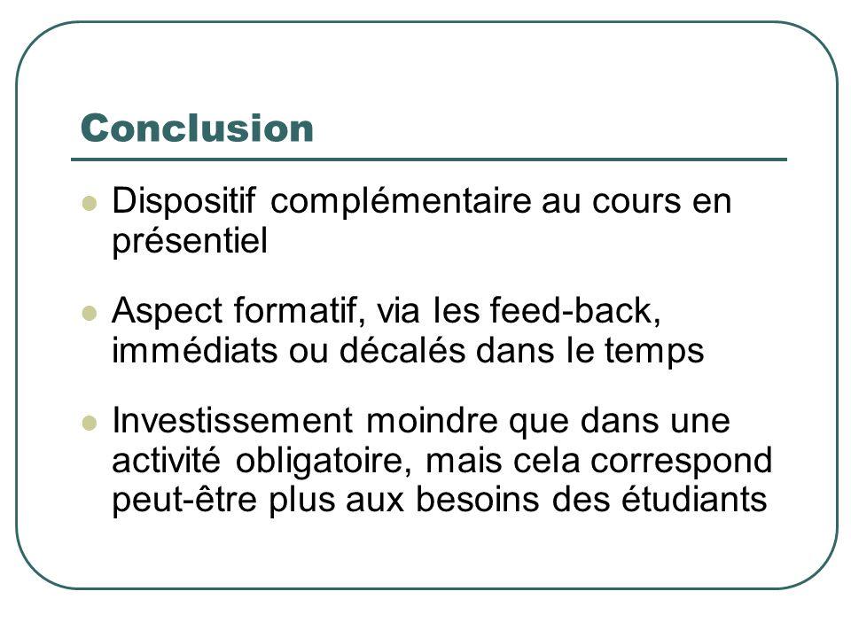 Conclusion Dispositif complémentaire au cours en présentiel