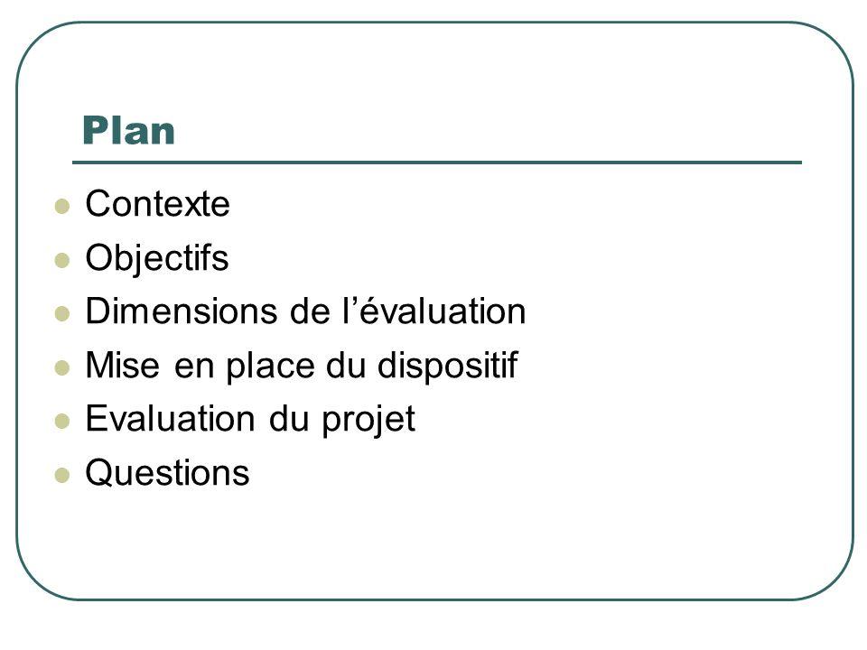 Plan Contexte Objectifs Dimensions de l'évaluation