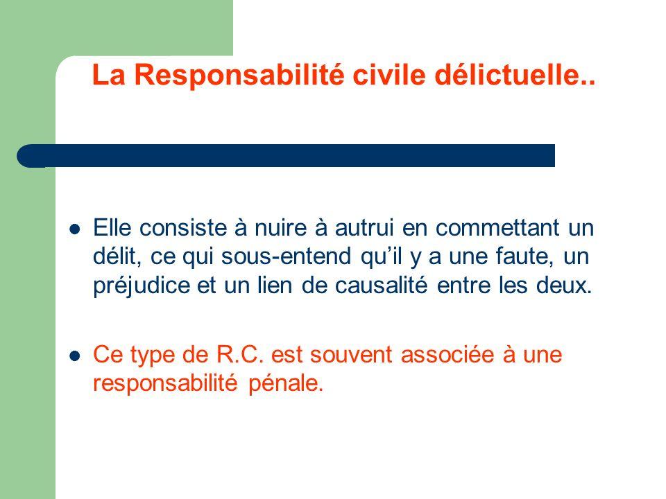 La Responsabilité civile délictuelle..