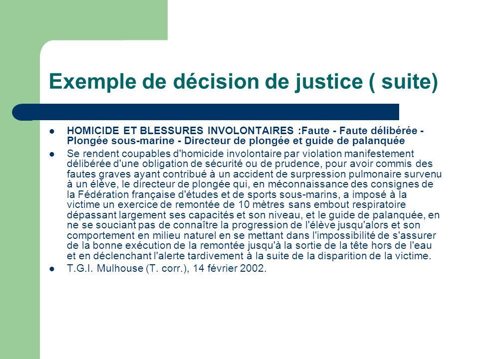 Exemple de décision de justice ( suite)