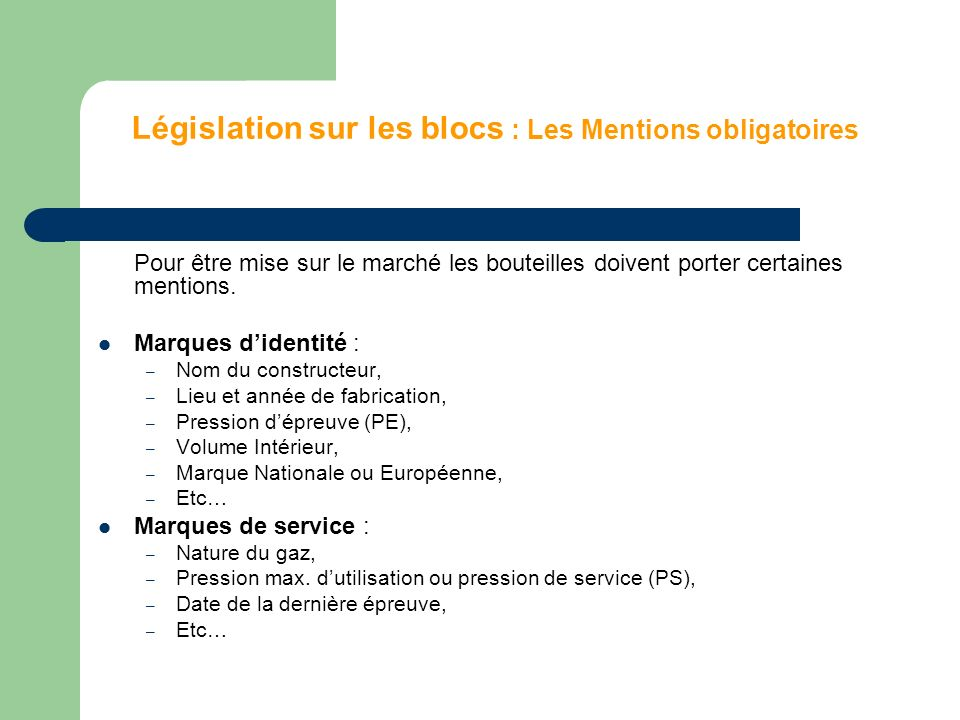 Législation sur les blocs : Les Mentions obligatoires