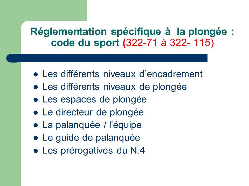 Réglementation spécifique à la plongée : code du sport (322-71 à 322- 115)
